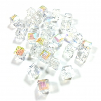 Cubes 6 mm crystal AB (30 Stk.)