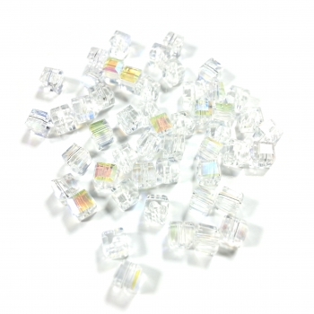 Cubes 4 mm crystal AB (50 Stk.)