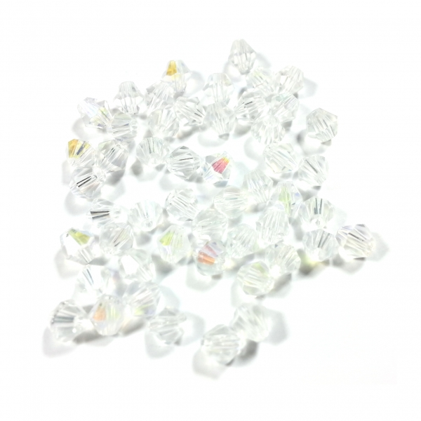 Bicones 4 mm white crystal AB (50 Stk.)