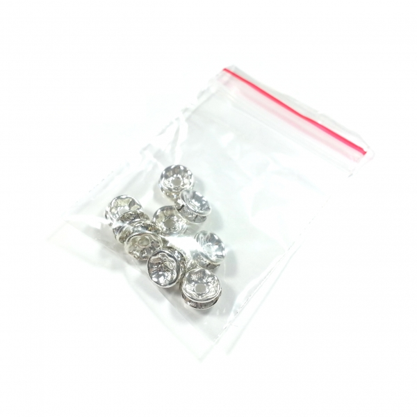 Strass Spacer 8 mm, crystal (10 Stk.)